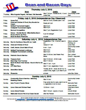 Bean and Bacon Days 2015 Printable Schedule