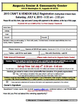 Craft Sale Vendor Application 2015 for Bean and Bacon Days