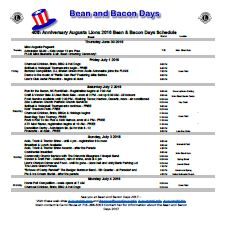 Printable Bean and Bacon Days 2016 Event Schedule