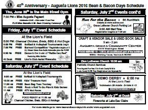 Bean and Bacon Days Community Mailer page 1 of 2