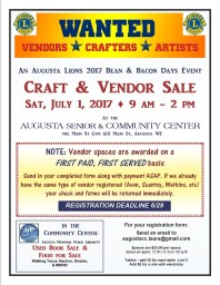 2018 Bean and Bacon Days Vendors Wanted