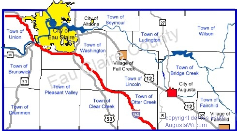 Townships in Eau Claire County Map